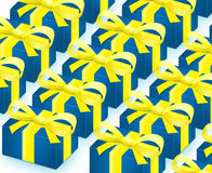 Row. Blue gifts with yellow ribbons Royalty Free Stock Image