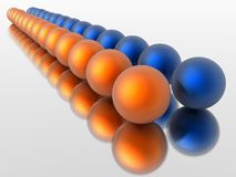 In a row. Orange and blue spheres in a row Royalty Free Stock Images