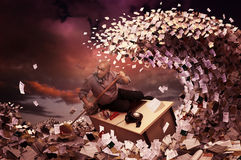 Row!!!. Stressed businessman in a bureaucracy sea, made of papers