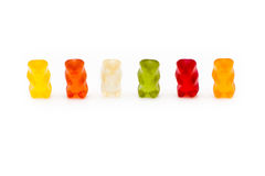 A row of 6 gummy bears Royalty Free Stock Images