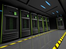 Row. Of servers in a dark room Royalty Free Stock Images