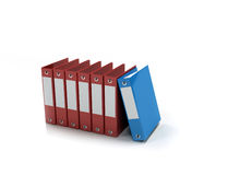 Row of accounting folders. On a white background Stock Photos
