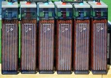 Row of accumulators. Row of interconnected electric accumulators Royalty Free Stock Photo