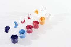 Row of Acrylic Paints Stock Image