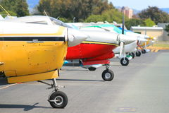 Row of Airplanes. Close up of a row of airplanes stock images