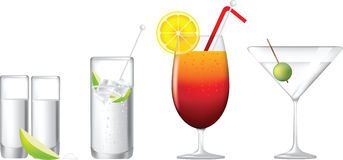 Row of alcoholic cocktails. Cocktails, gin and tonic, tequila sunrise, martini and tequila shot vector illustration