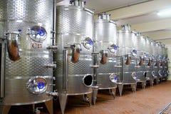 Row with aluminum cistern. Row with aluminum wine cistern stock photos