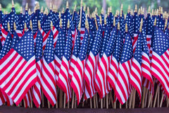 Row of American Flags Stock Photos