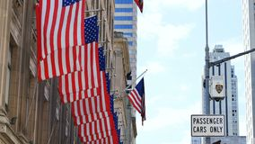 Row of american or usa flag wawing new york city. Row of american or usa flag wawing in new york city stock video footage