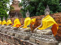 Row of ancient Buddha statue in temple Royalty Free Stock Image