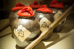 Row of ancient chinese jugs Royalty Free Stock Photo