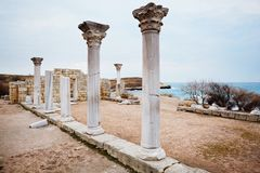 Row of Ancient Column. Stock Photo