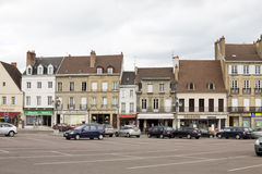 The row of ancient houses on the central square of Autun Stock Photography