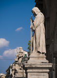 Row of ancient statues at the entrance of the cathedral of Paler Stock Image