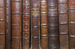 Row of Antique books on shelf Royalty Free Stock Photo