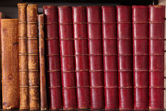 Row of Antique Leather Books Stock Photography