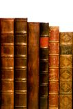 Row of antique leather books Royalty Free Stock Photos