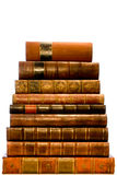 Row of antique leather books Stock Photos