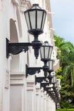 Row of antique street laterns. In Cartagena de Indias Stock Images