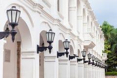 Row of antique street laterns. In Cartagena de Indias Royalty Free Stock Photo