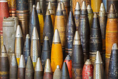 Row of antique world war two bombs Royalty Free Stock Photo