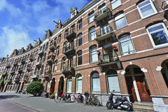 Row of apartment buildings in Amsterdam, Netherlands Stock Images