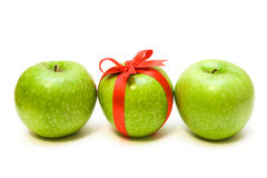 Row apples. Row of three apples isolated on the white Royalty Free Stock Image