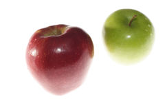 Row apples. Palatable apples prepared for packing design. Isolated with clipping path Stock Photo