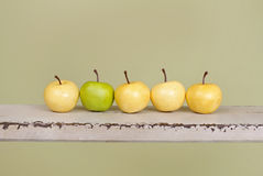 Row of Apples on Rustic Wood Bench Stock Images