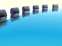 Row of arm-chairs. At a table in the hall of meetings royalty free illustration