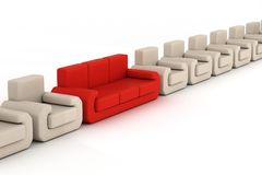 Row armchairs and red sofa on a white background. 3D image Royalty Free Stock Photography