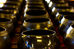 Row of arms bowl,Bowl carried by a Buddhist priest Stock Image