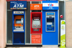 Row of ATM machines in Thailand royalty free stock photos