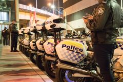 Police motorbikes in a row. Row of Australian police motorcycles Royalty Free Stock Photography