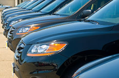 Row of Automobiles on a Car Lot Stock Photos