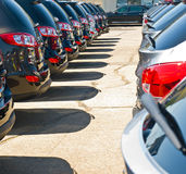 Row of Automobiles on a Car Lot Royalty Free Stock Photography