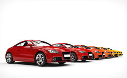 Row Of  Awesome Cars - Warm Colors Stock Photo