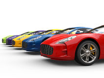 Row of awesome looking sports cars Royalty Free Stock Images