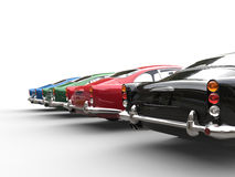 Row of awesome vintage cars - back view Stock Photo