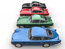 Row of awesome vintage cars - top view Royalty Free Stock Photos
