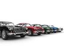 Row of awesome vintage cars - on white background Royalty Free Stock Image