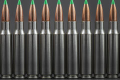 Row of Ballistic Tip Rifle Rounds. Close up Stock Image