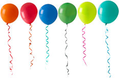 Row of balloons on a white background Royalty Free Stock Images