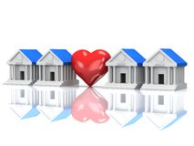 Row of bank buildings and heart with reflection. 3d render. Royalty Free Stock Photos