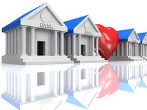 Row of bank buildings and heart with reflection. 3d render. Royalty Free Stock Images