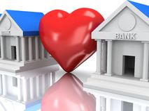 Row of bank buildings and heart with reflection. 3d render. Stock Images