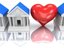 Row of bank buildings and heart with reflection. 3d render. Stock Photo