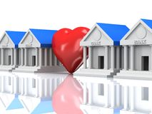 Row of bank buildings and heart with reflection. 3d render. Royalty Free Stock Image