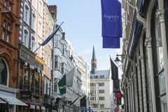 Row of of banners in New Bond Street Royalty Free Stock Image