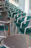 Row of bar tables and chairs Stock Image
